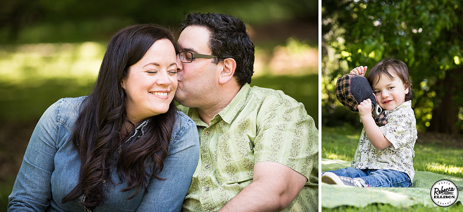 Husband and wife enjoy a quiet moment during seattle arboretum family portraits photographed by Seattle fmaily photographer Rebecca Ellison