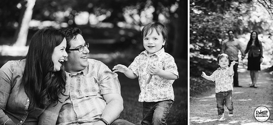 Black and white family portraits featuring a family of three photographed by Rebecca Ellison Photography