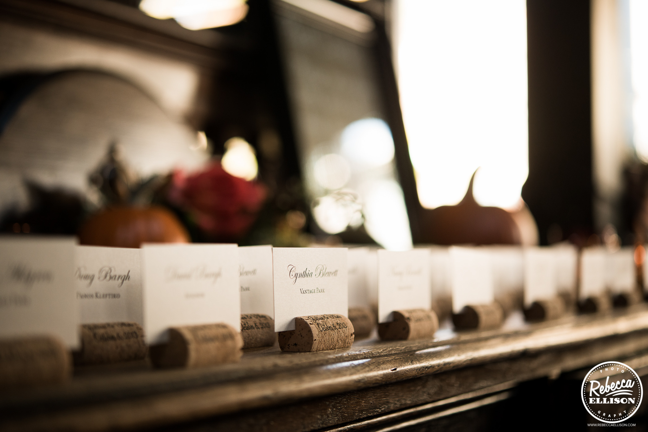 seating cards in wine corks