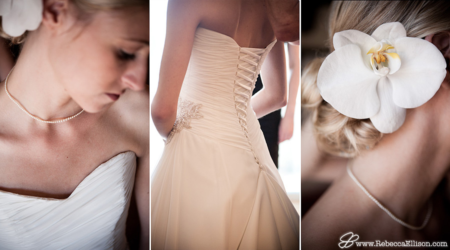 details of the bride and her dress
