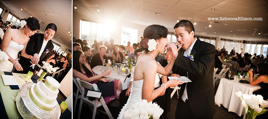 cake cutting at at Edmonds Yacht Club wedding reception