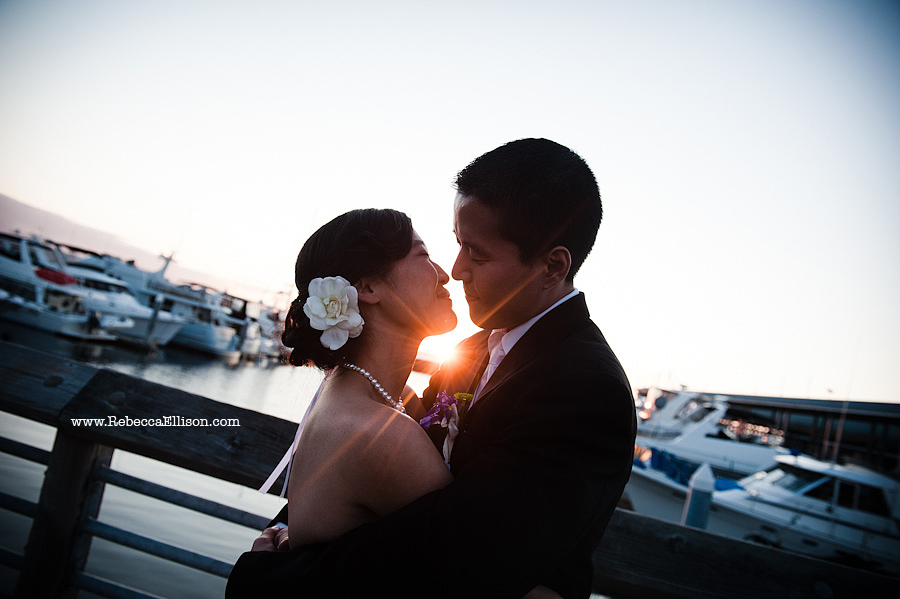 sunset at at Edmonds Yacht Club wedding reception photos