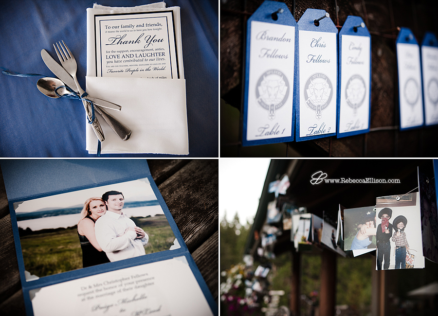 blue themed wedding details