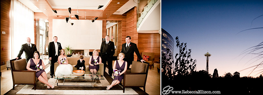 bridal party photos at the Pan Pacific HOtel, Seattle