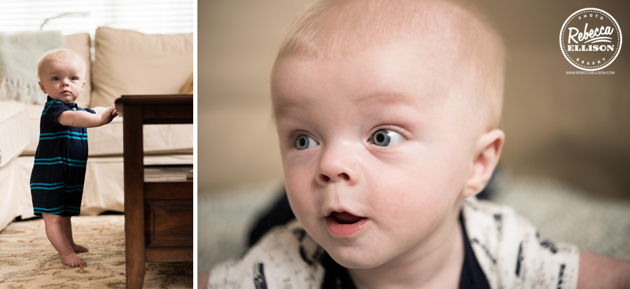 Baby boy stands and cruises during an indoor portrait session photographed by Rebecca Ellison Photography