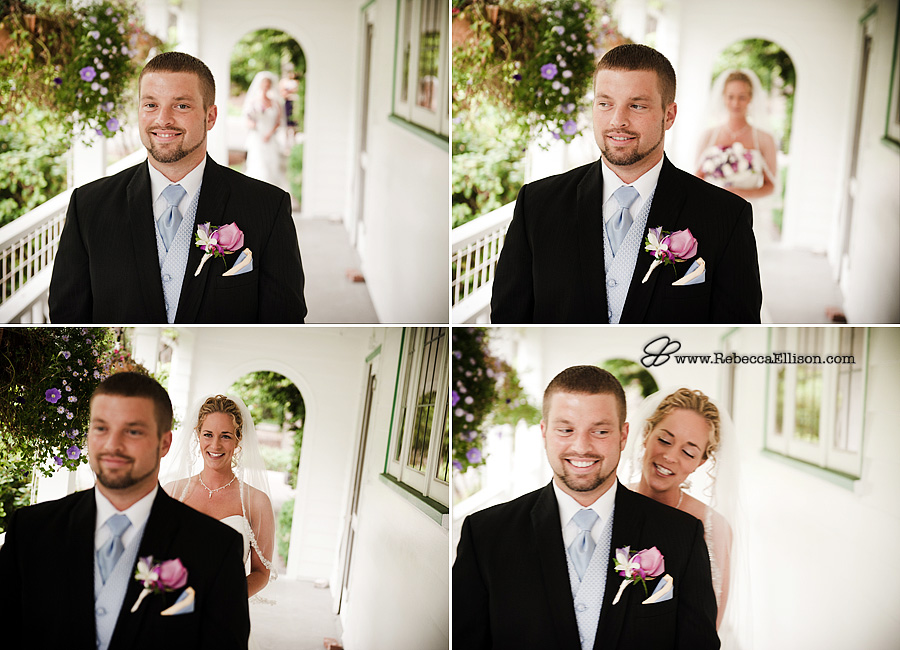 montage of wedding first site at Montevilla Farmhouse in Bothell, WA