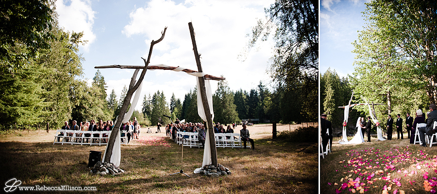 the beginning of an outdoor riverside wedding ceremony in Seattle wa