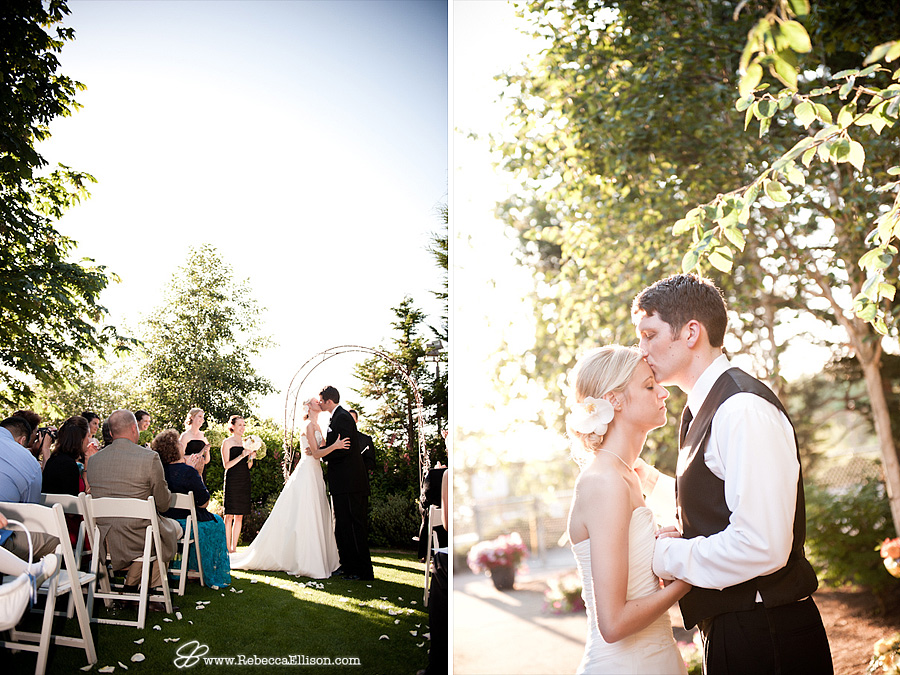 bride and groom's first kiss at the end of the wedding ceremony