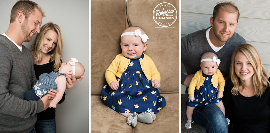 Baby girl with her parents in a blue and yellow dress photographed by Seattle baby photographer Rebecca Ellison
