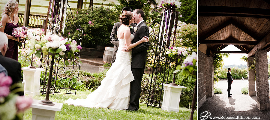 bride and groom's first married kiss at their wedding ceremony
