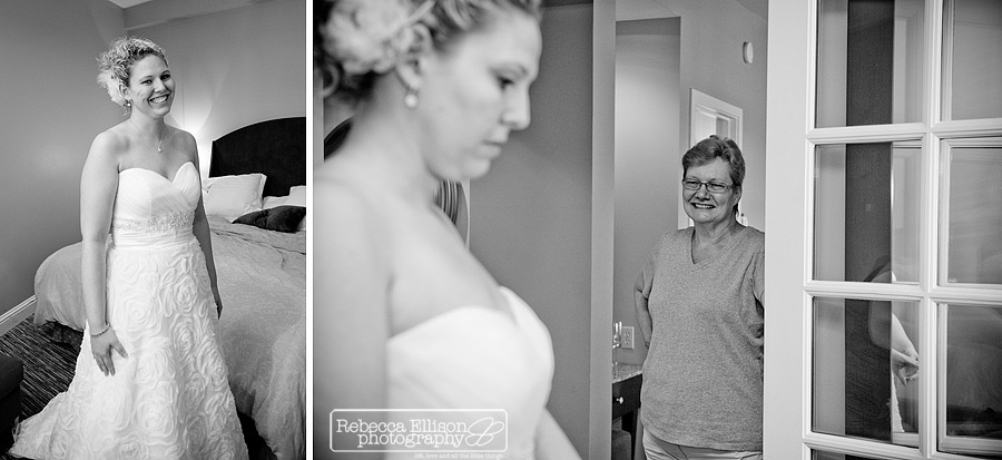 bride steps into her wedding dress while mother looks on at Aldrerbrook resort wedding