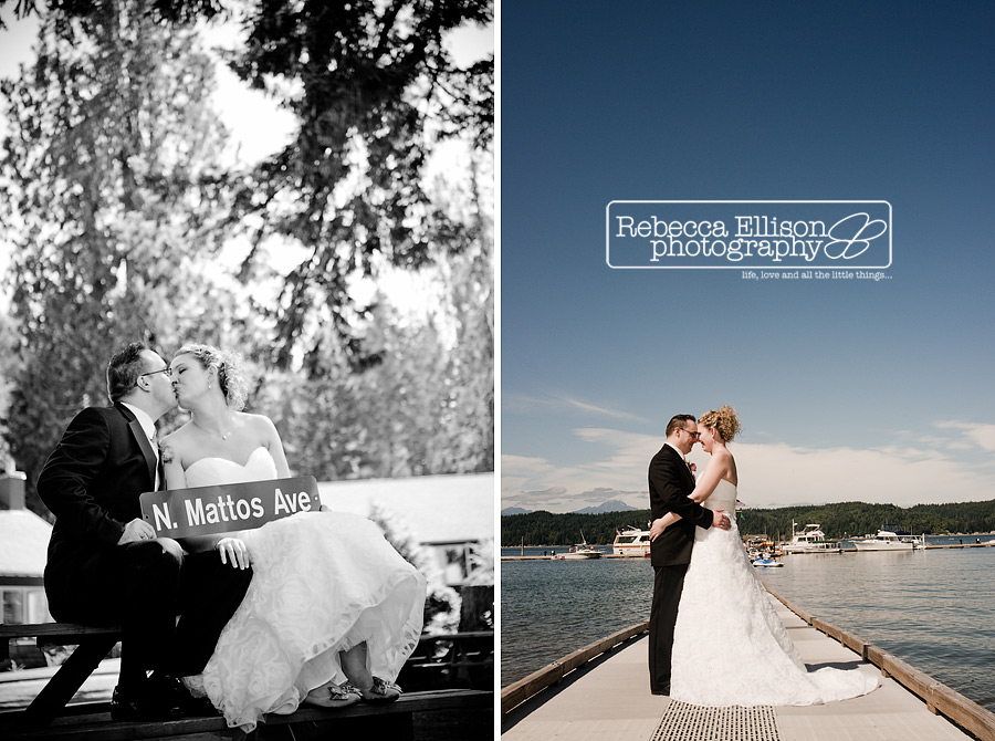 Bride and groom portraits on dock of Alderbrook resort
