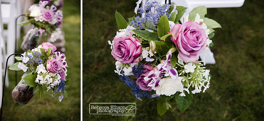 purple rose and blue babies breath flowers in mason jars with river rocks as wedding aisle runner at alderbrook resort