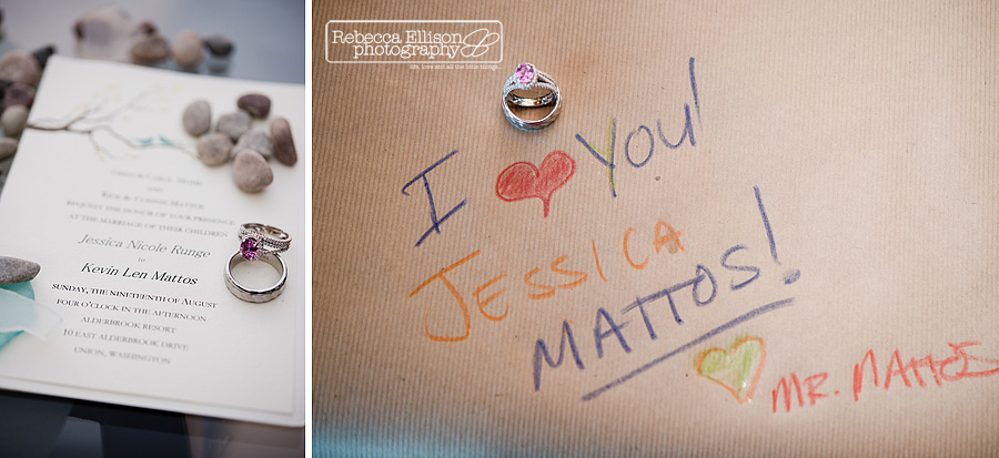 detail of wedding ring on paper with note to bride in crayon