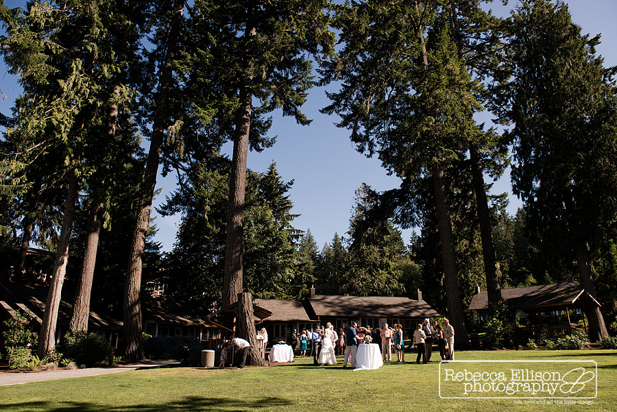 outdoor wedding reception at alderbrook resort by cabins