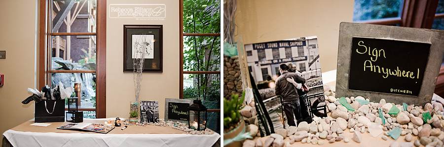 guest book sign in table with river rocks and chalk sign