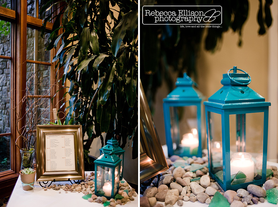 table setting in gold frame teal blue candle lanterns