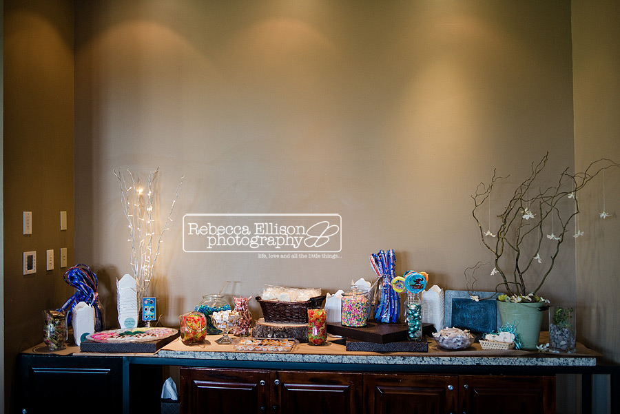 candy table with blue and teal theme