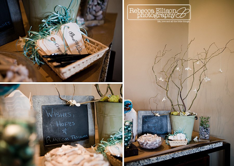 wedding wish tree with teal details