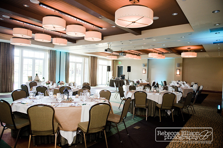 wedding ballroom reception setup in ballroom of alderbrook resort