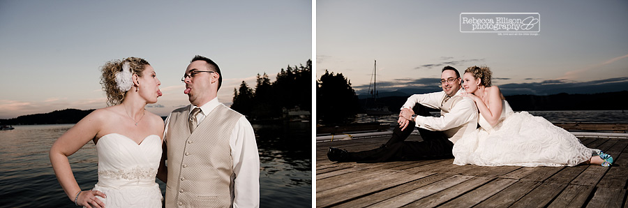sunset photos on dock at alderbrook resort wedding