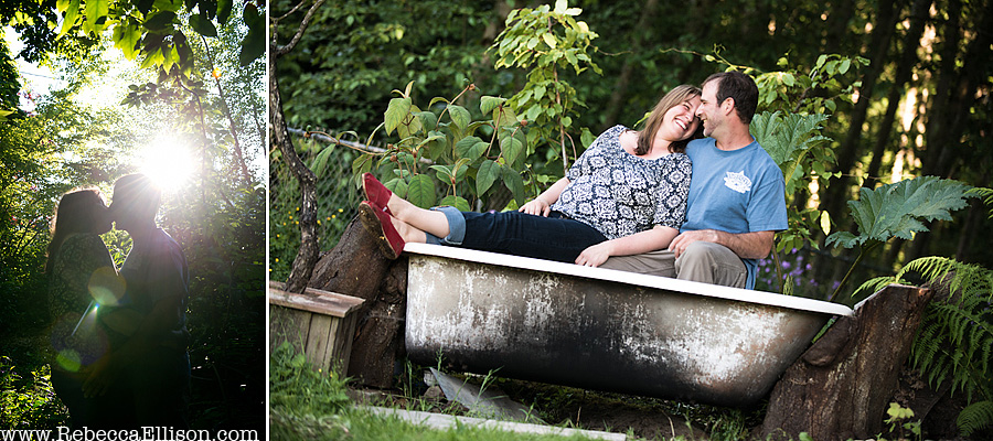outdoor-engagement-session- couple sitting in a outdoor bath tup converted to hot tub