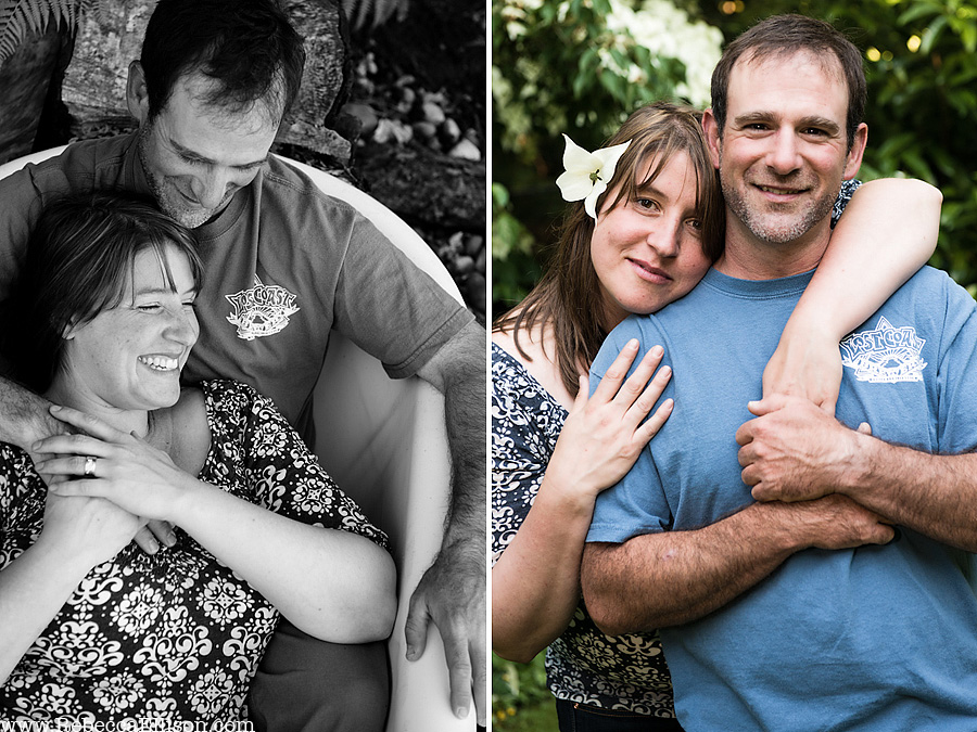 outdoor-engagement-session- portraits of couple smiling and laughing while sitting in an outdoor bathtub hottub