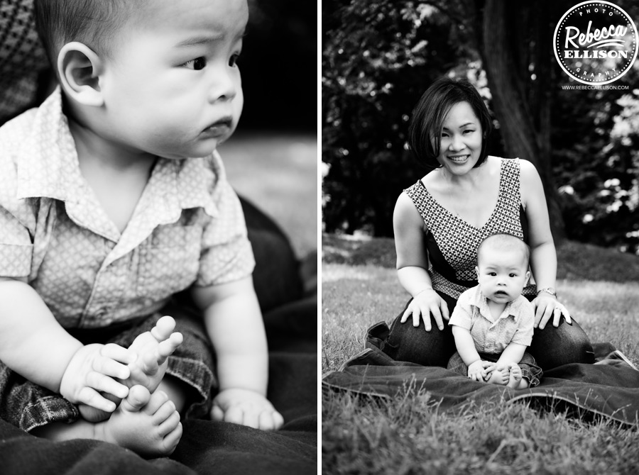 Black and white portrait of a baby and his mother during an infant portrait session photographed by Rebecca Ellison Photography