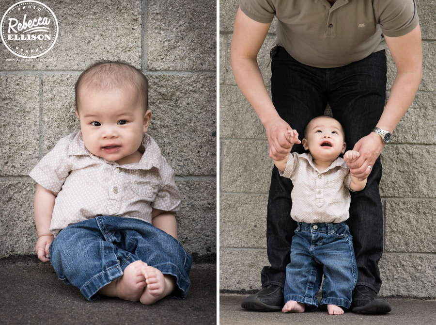 Baby steps for a 6 month old baby boy and his father during an infant portrait session by Seattle baby photographer Rebecca Ellison