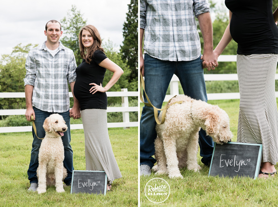 Waiting for the arrival of their first baby during outdoor maternity portraits featuing a dog and a baby name chalkboard photographed by Woodinville maternity photographer Rebecca Ellison