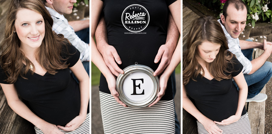 Baby Bump and a mongrammed wall plaque during outdoor maternity portraits by Woodinville maternity photographer Rebecca Ellison