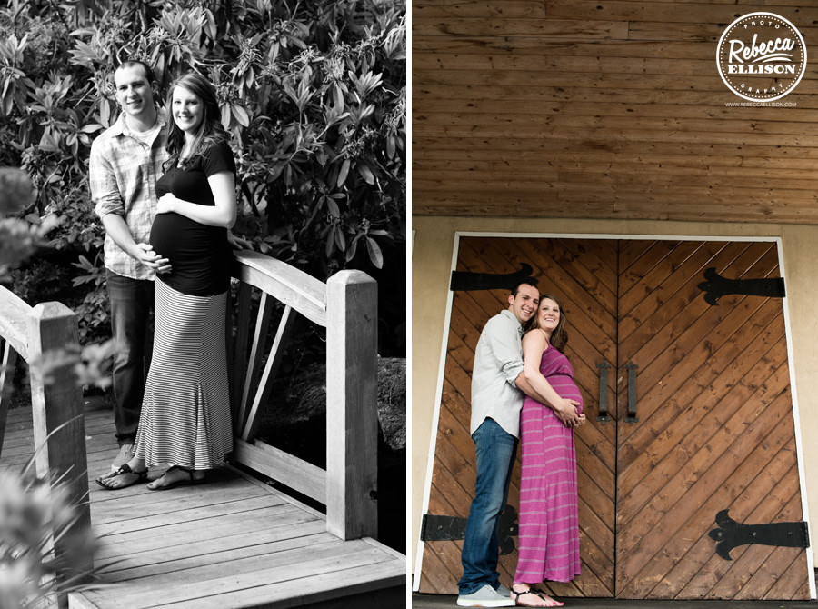 Delille Cellars maternity portraits featuring a wooden bridge and wooden doors photographed by Woodinville maternity photographer Rebecca Ellison