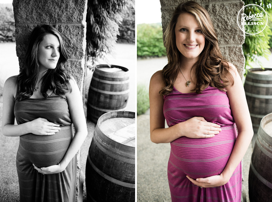 Baby Bump and wooden kegs during a Delille Cellars maternity portrait session photographed by Rebecca Ellison Photography