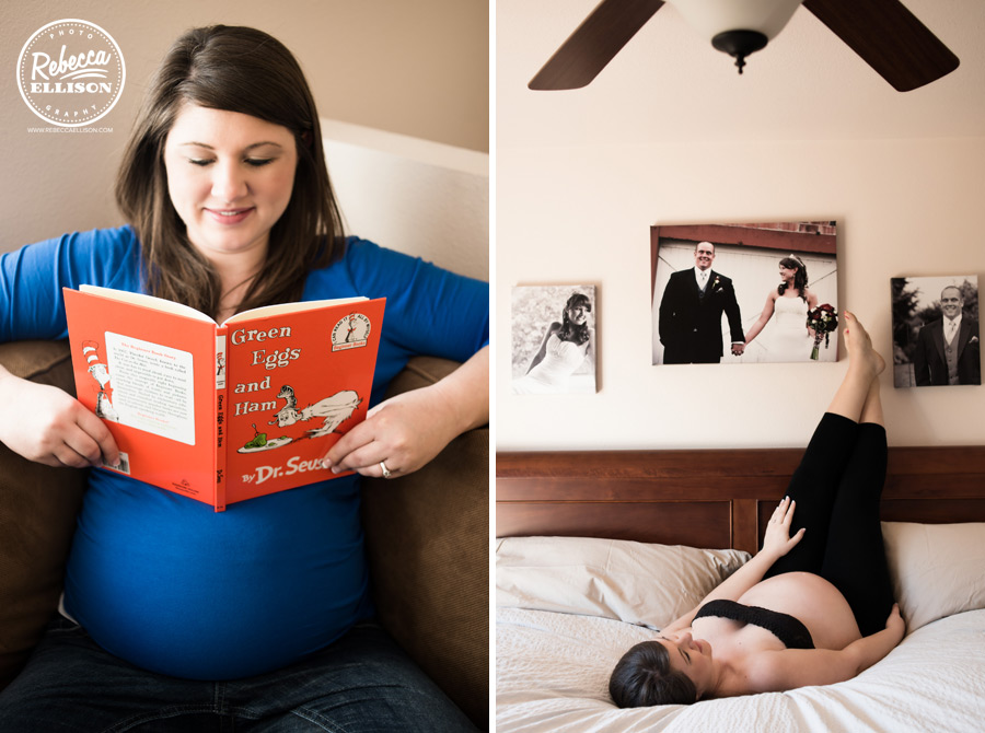 Pregnant mother reads Green Eggs and Ham during a maternity portrait session photographed by Rebecca Ellison photography