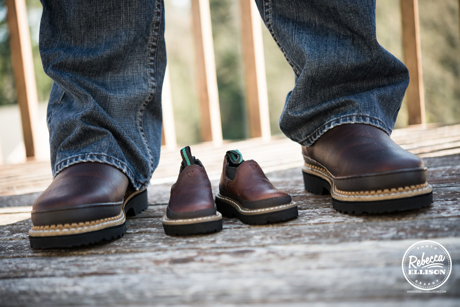 big feet tiny feet a dad's feet and matching baby shoes photographed by everett maternity photographer Rebecca Ellison