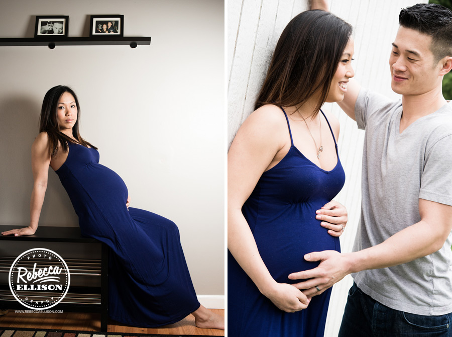 Pregnant woman in a blue dress during a maternity photo shoot by Seattle maternity photographer Rebecca Ellison