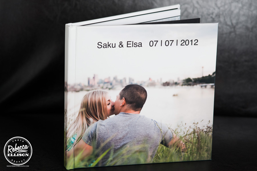 Wedding guest book featuring engagement photos from Seattle wedding photographer Rebecca Ellison