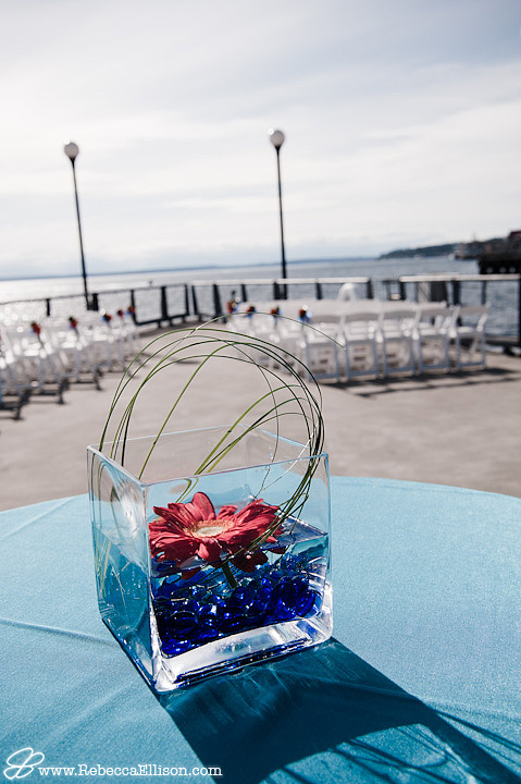 wedding ceremony set up on the port behind the Seattle Aquarium