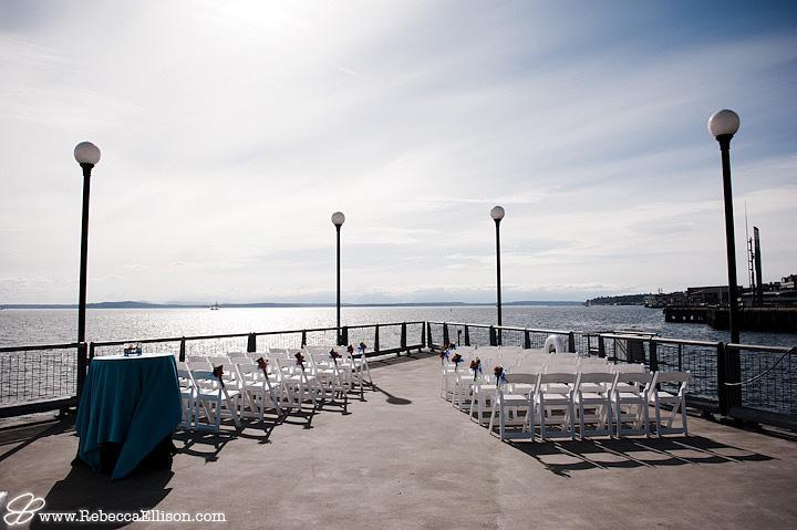 Seattle Aquarium wedding ceremony set up