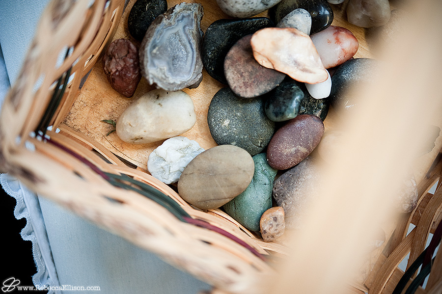 Wedding details, a stone ceremony, photographed by Seattle wedding photographer Rebecca Ellison