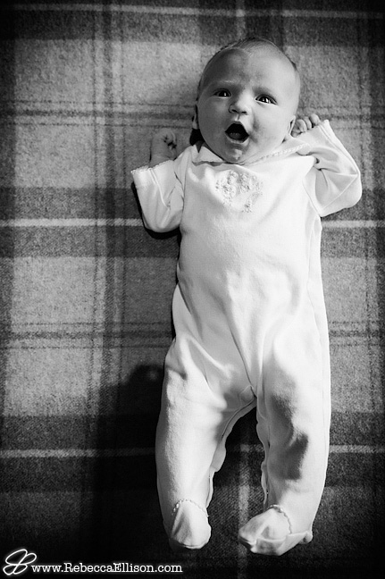 newborn baby stretches in portrait