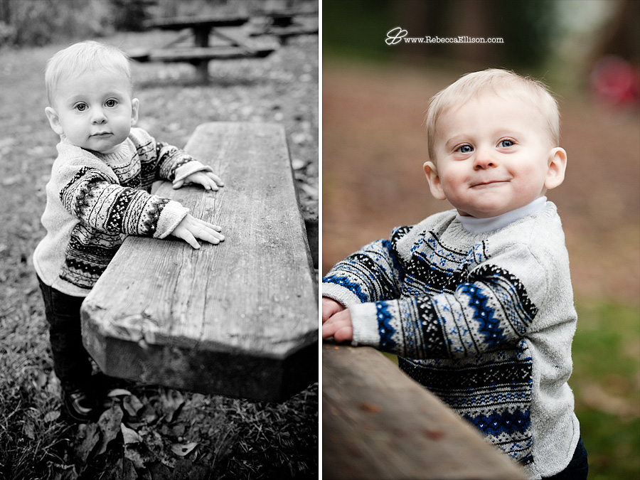 portrait of 9 month old boy in Lincoln Park, West Seattle