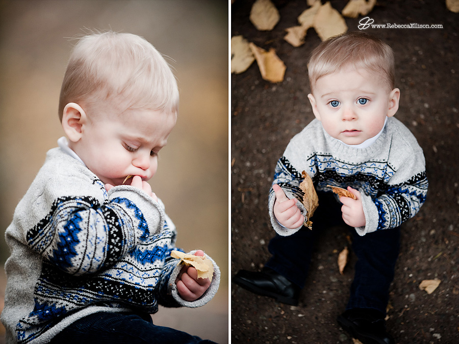 9 month old boy tries to eat leaf