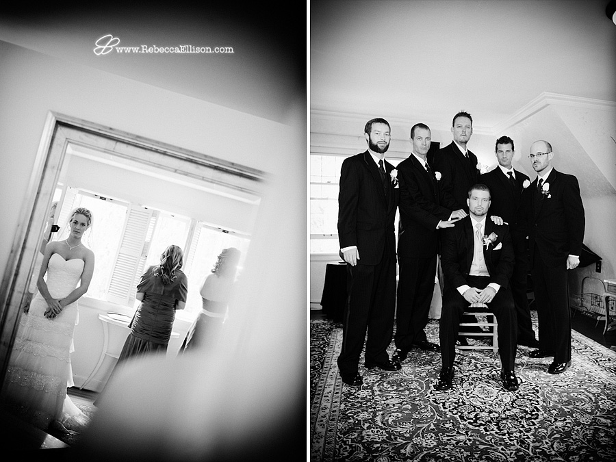 Black and white wedding portraits of the Bride and groomsmen photographed by Bothell wedding photographer Rebecca Ellison