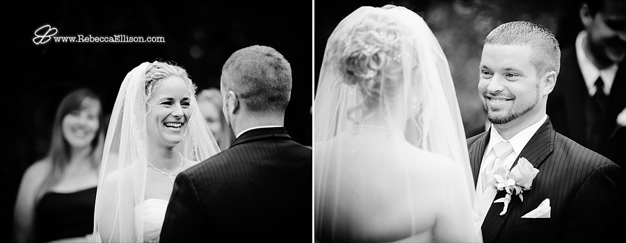 Black and white outdoor wedding ceremony portraits photographed by Bothell wedding photographer Rebecca Ellison