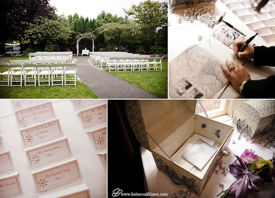 Outdoor wedding ceremony venue at MonteVilla Farmhouse, guest book, place cards and card chest photographed by Rebecca Ellison Photography