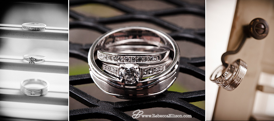 Wedding ring photography featuring rings on a metal grate and on a wraught iron door handle photographed by Rebecca Ellison Photography