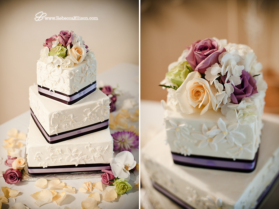 Square wedding cake with lavender, green and cream roses and ribbon accents photographed by Seattle wedding photographer Rebecca Ellison