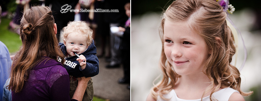 Flower girls during outdoor wedding portraits photographed by Bothell wedding photographer Rebecca Ellison