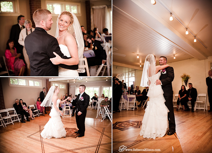 First dance at a wedding at bothell wedding venue Montevilla Farmhouse photographed by Rebecca Ellison Photography